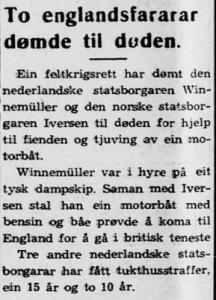 Krantenbericht in de Noorse krant Firda Folket van 3 maart 1942